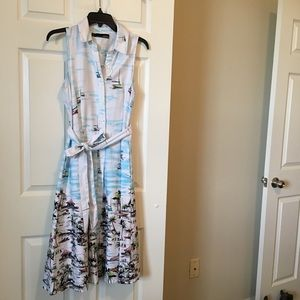 Chetta B. Scenic Dress SailBoats Birds Palm trees